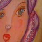 Mini art journal: fata cu parul purpuriu