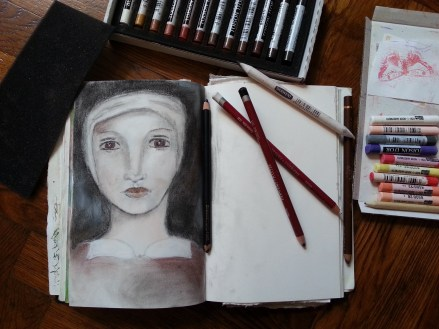 charcoal and pastels by Cristina parus @ creativemag.ro