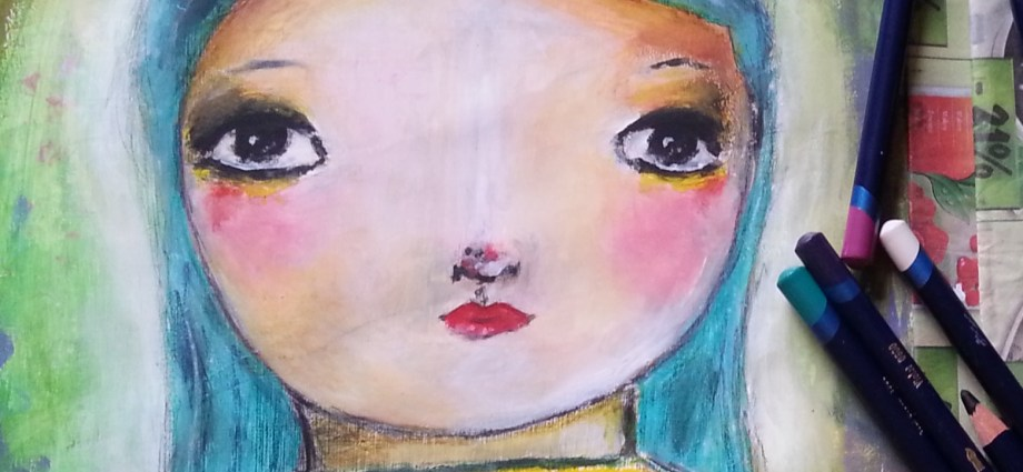 Acrylic Painting - blue hair little girl by Cristina Parus @ creativemag.ro