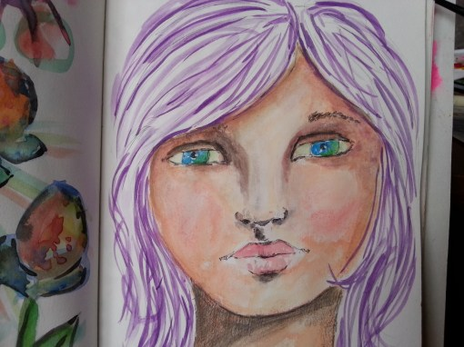 Watercolor semi-realist portrait art journal weekend project by Cristina Parus @ creativemag.ro