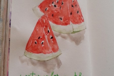 watercolor matching watermelon by Cristina Parus @ creativemag.ro