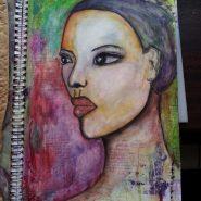 Semi-profile whimsical portrait by Cristina Parus @ creativemag.ro