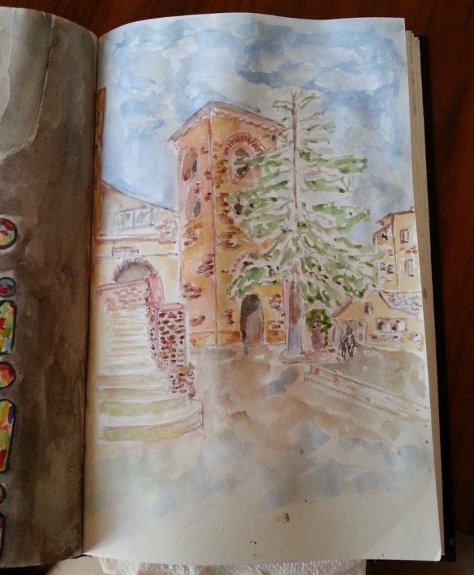 Watercolor building in the Sf. Anton churchyard by Cristina Parus @ creativemag.ro