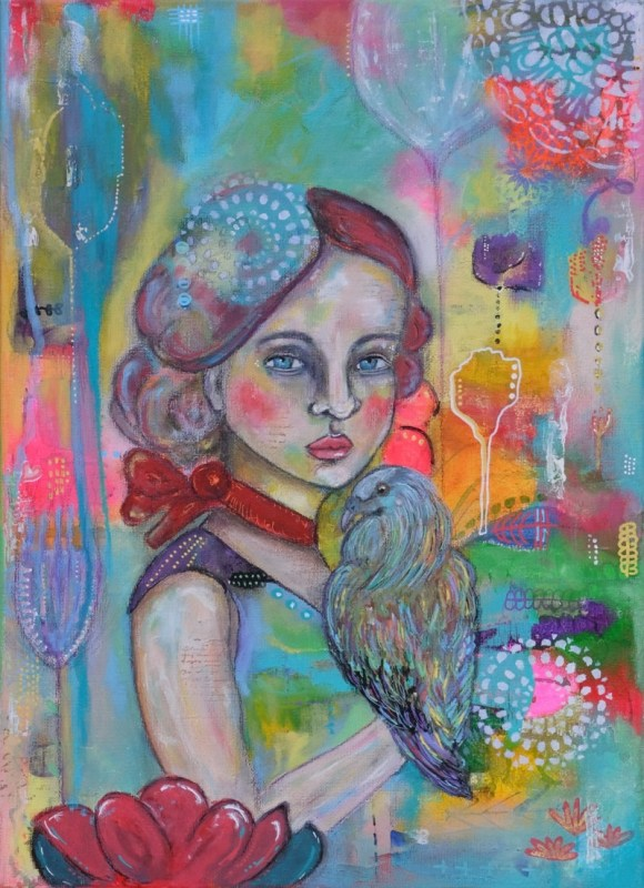 Girl with Nicobar bird by Cristina Parus @ creativemag.ro