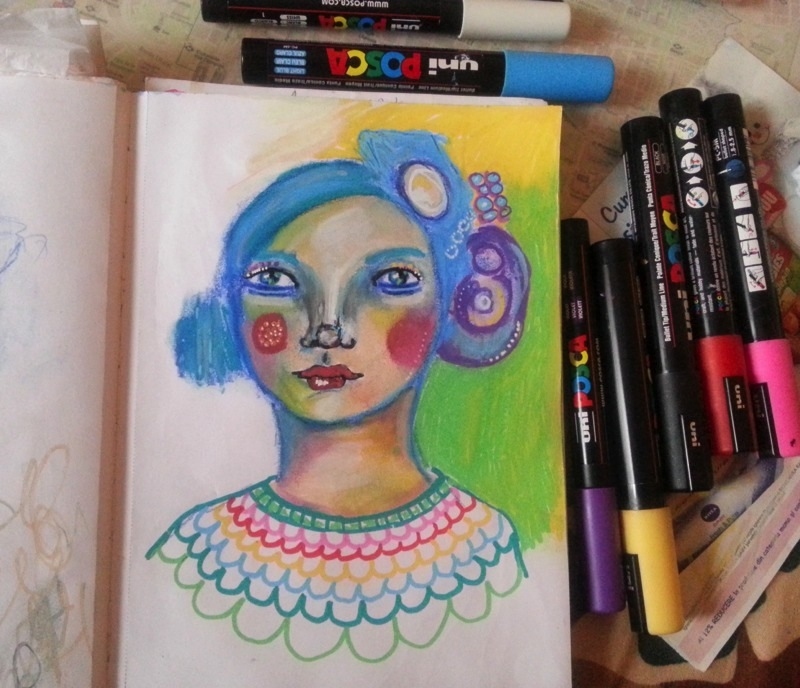 Posca Markers girly art journal page + how I use POSCA markers - by Cristina Parus @ creativemag.ro