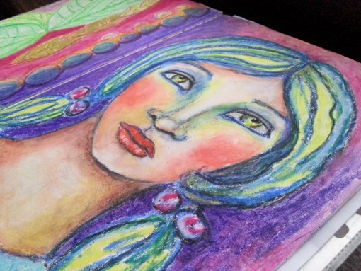 Embrace yourself art journal oil pastels whimsical face by Cristina Parus @ creativemag.ro
