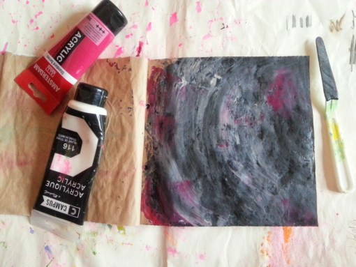 Palette knife portrait on a handmade journal by Cristina Parus @ creativemag.ro