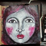 Acrylic Palette knife portrait on a handmade journal by Cristina Parus @ creativemag.ro