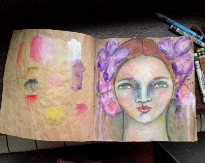 Mixed Media Portrait on a brown packaging paper art journal by Cristina Parus