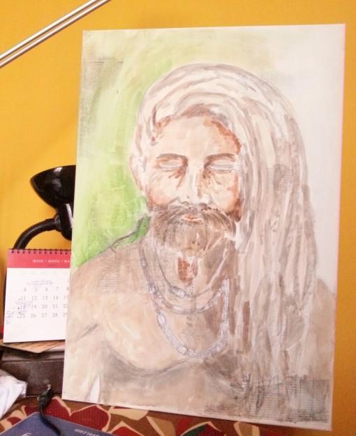 Sadhus Holly man - Acrylic on canvas by Cristina Parus @ creativemag.ro