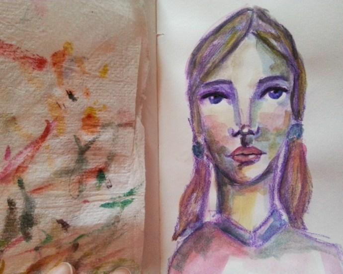 Watercolor face by Cristina Parus @ creativemag.ro