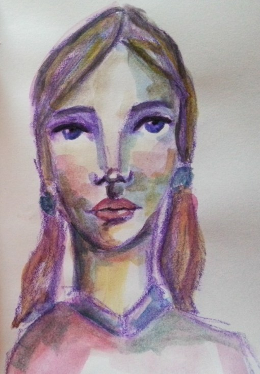 Watercolor face by Cristina Parus @ creativemag.ro