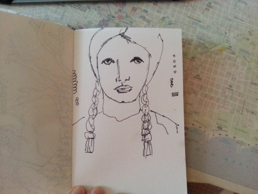 Brunette with braids - one sketch a day by Cristina Parus @ creativemag.ro
