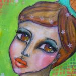 """In the mirror"" mixed media girl – Gratitude"