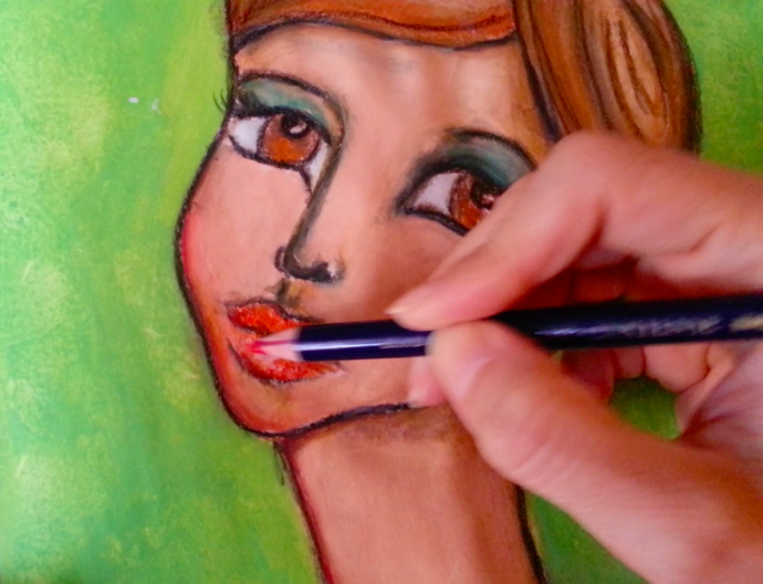"""""""In the mirror"""" mixed media girl by Cristina Parus @ creativemag.ro"""