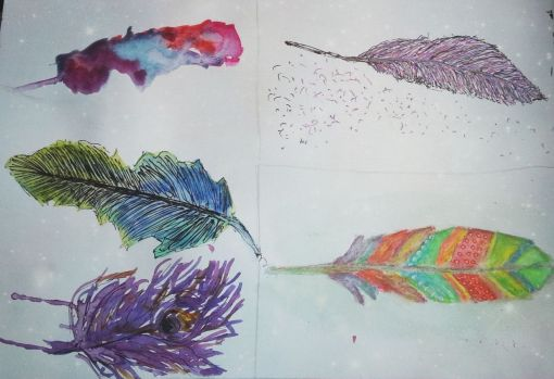Colorful Feathers in my Art Journal by Cristina Parus @ creativemag.ro