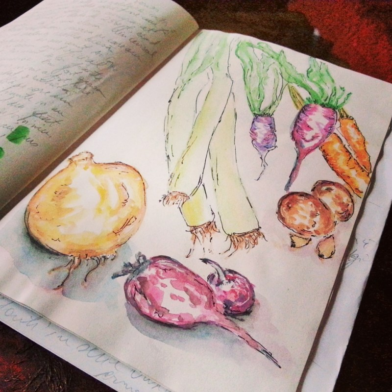 Watercolor Autumn Vegetables by Cristina Parus @ creativemag.ro