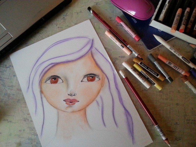 whimsical face in soft pastel by Cristina Parus @ creativemag.ro