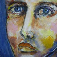HIs blue eyes - mixed media journal page by Cristina Parus @ creativemag.ro