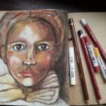 Soft pastels portrait on packaging paper art journal
