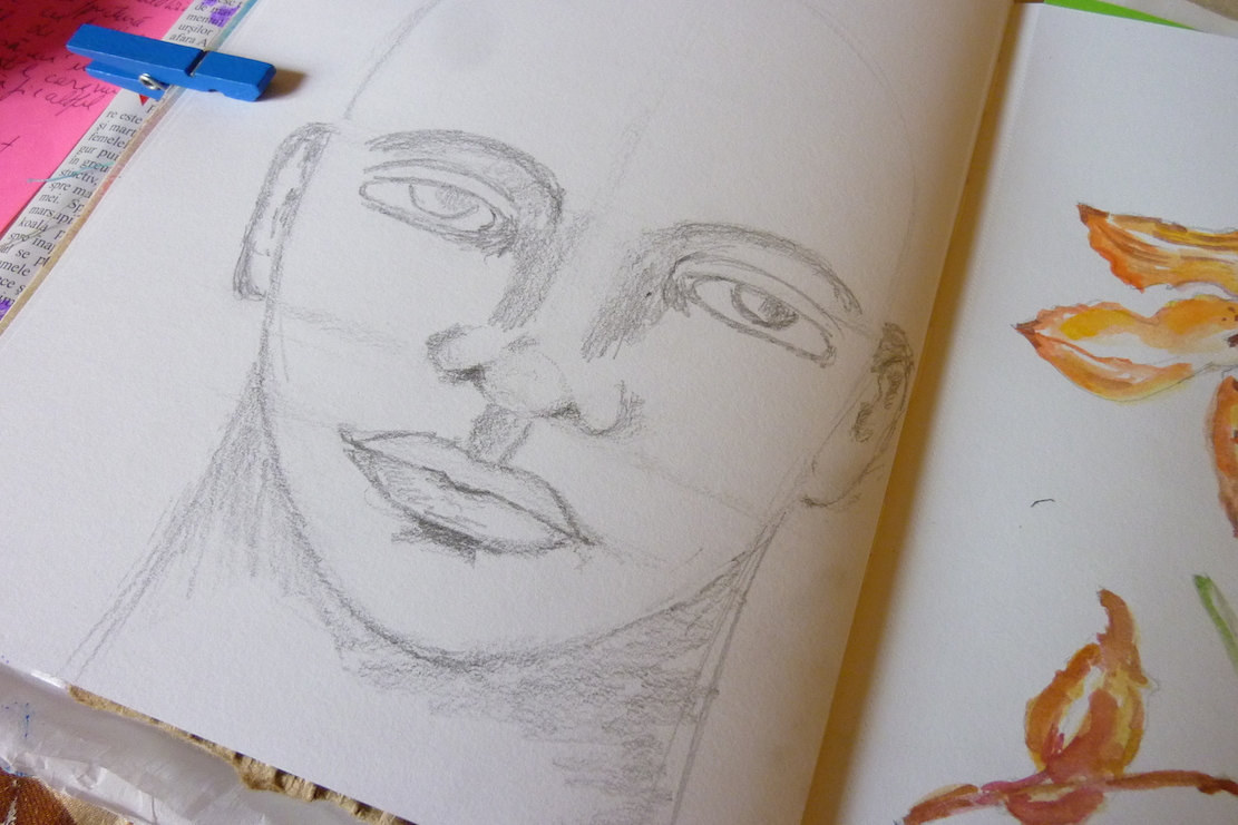 Drawing exercise - portrait in watercolor by Cristina Parus @ creativemag.ro