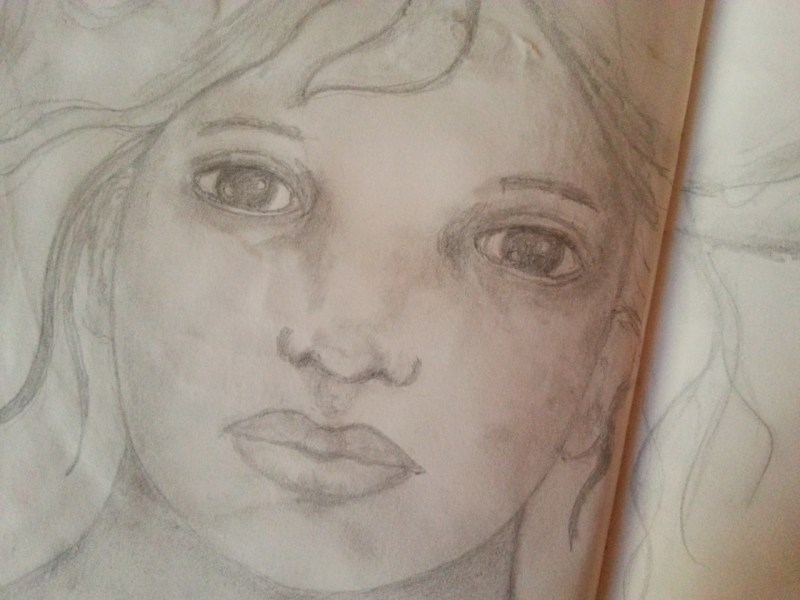 Pencil sketch - Girl with flying hair by Cristina Parus @ creativemag.ro