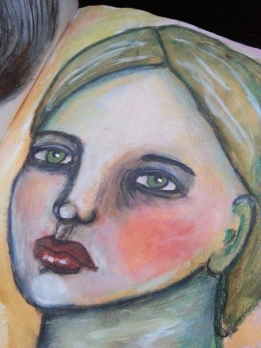 Looking over my shoulder - Mixed media portrait by Cristina Parus @ creativemag.ro