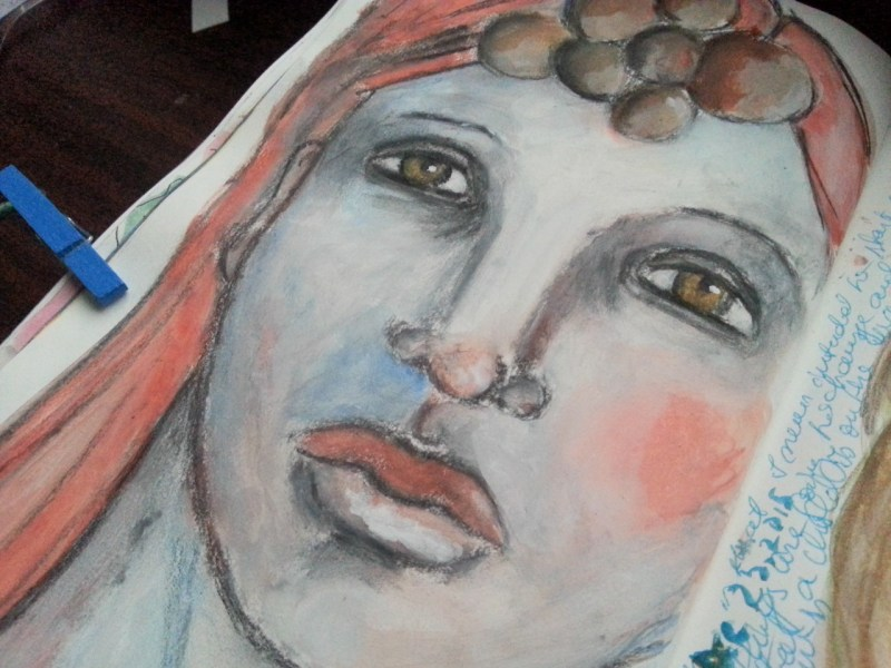 Looking straight to the future Mixed media Art journal page by Cristina Parus @ creativemag.ro