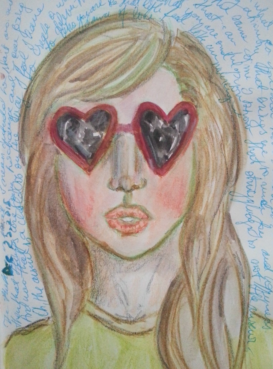 Heart sunglasses watercolor face by Cristina Parus @ creativemag.ro