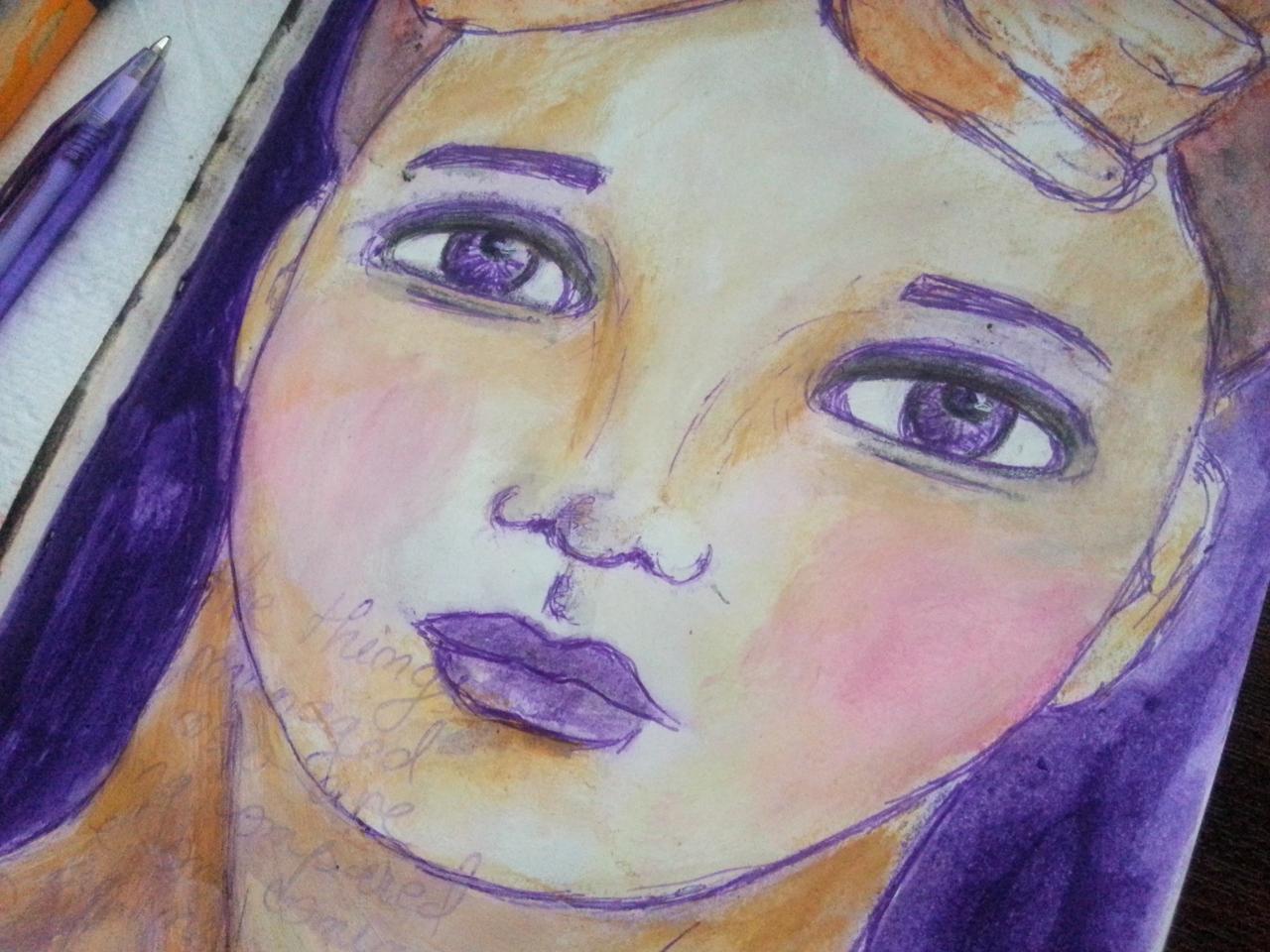 Purple pen face sketch by Cristina Parus @ creativemag.ro