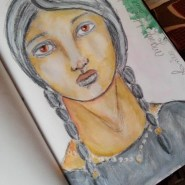 Charcoal mixed acrylic paints - dive into mixed media by Cristina Parus @ creativemag.ro