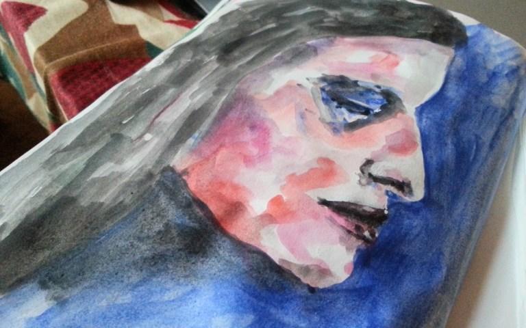Messy watercolor profile face by Cristina Parus @ creativemag.ro