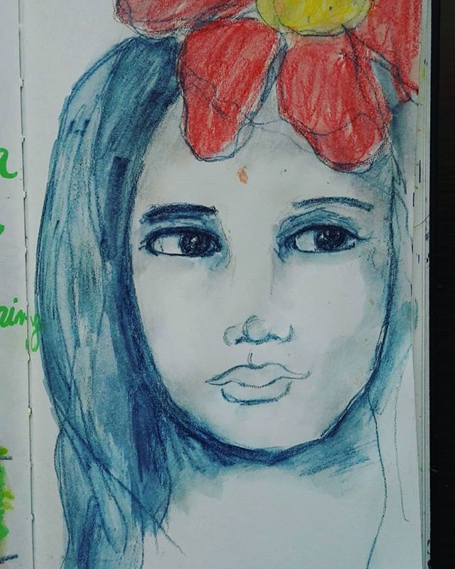 Blue inktense sketch face of quoted pages