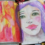 20 minutes art journaling - Collage and paint @ creativemag.ro