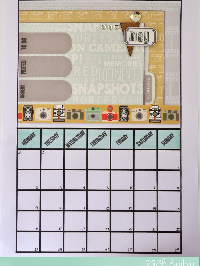 Create Memories for May – calender page