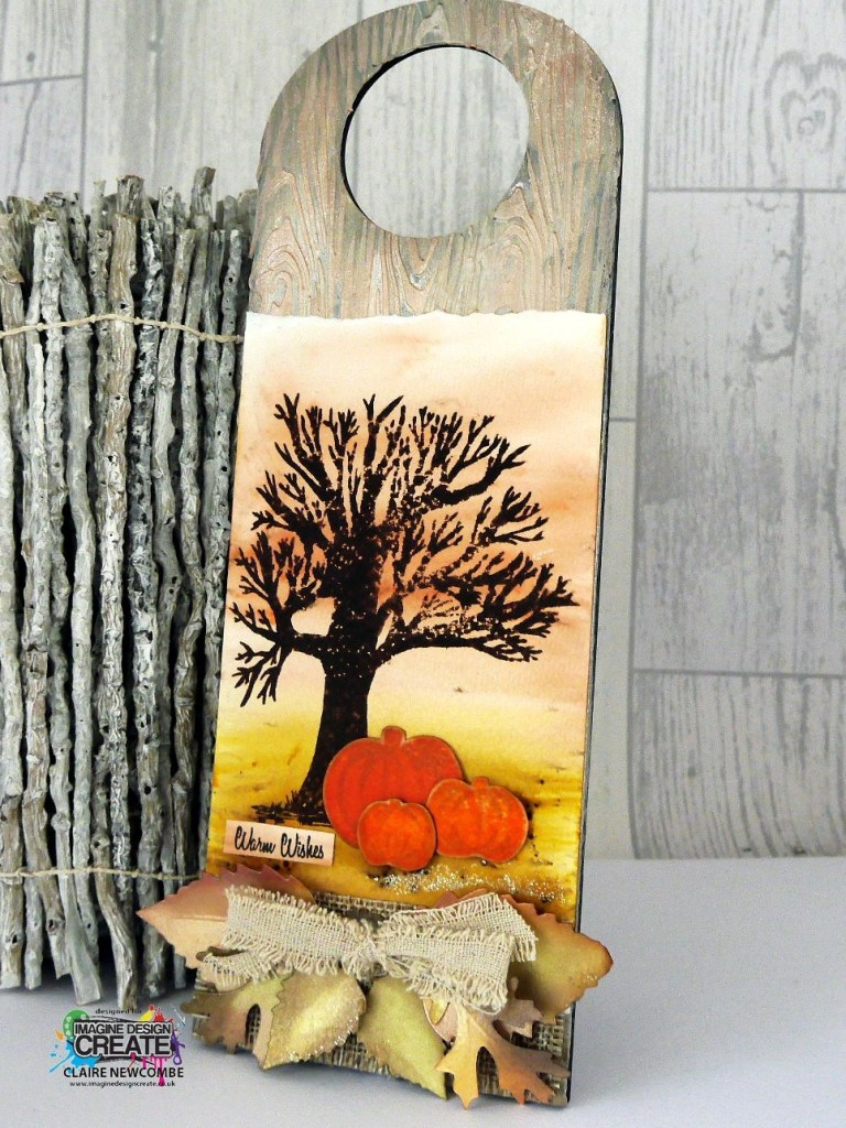 Autumn pumpkins – Stamped door plaque