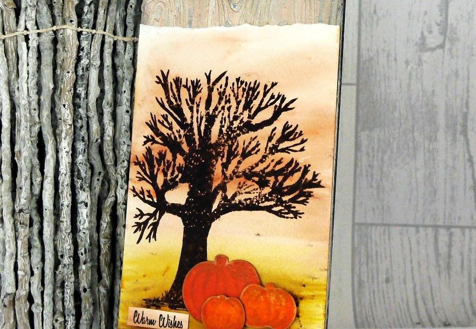 Autumn pumpkins – Stamped door plaque