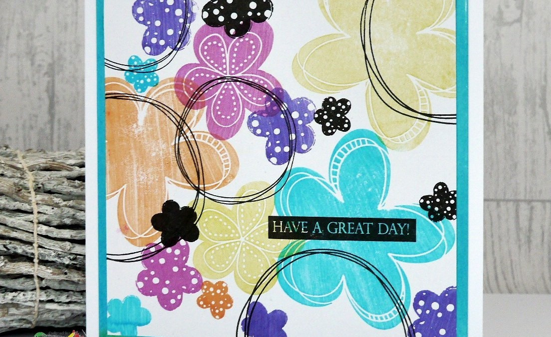 Stamped contempory doodled flower card….for Imagine Design Create