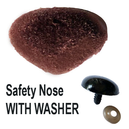 Brown Velvet Safety Nose with Washer
