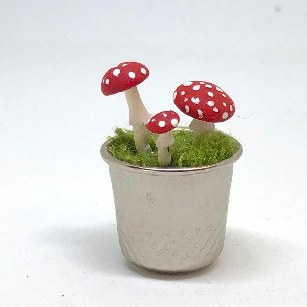 Miniature Fairy Garden Red Cap Mushrooms in Thimble Planter