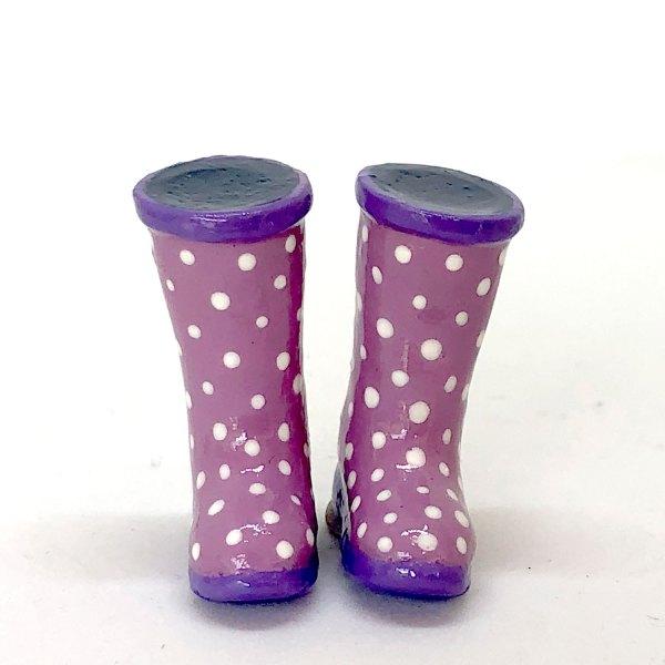 Dollhouse Miniature Ladies Rubber Boots Purple