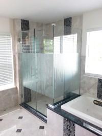 Corner Enclosure Etched & Sandblasted Shower Doors ...
