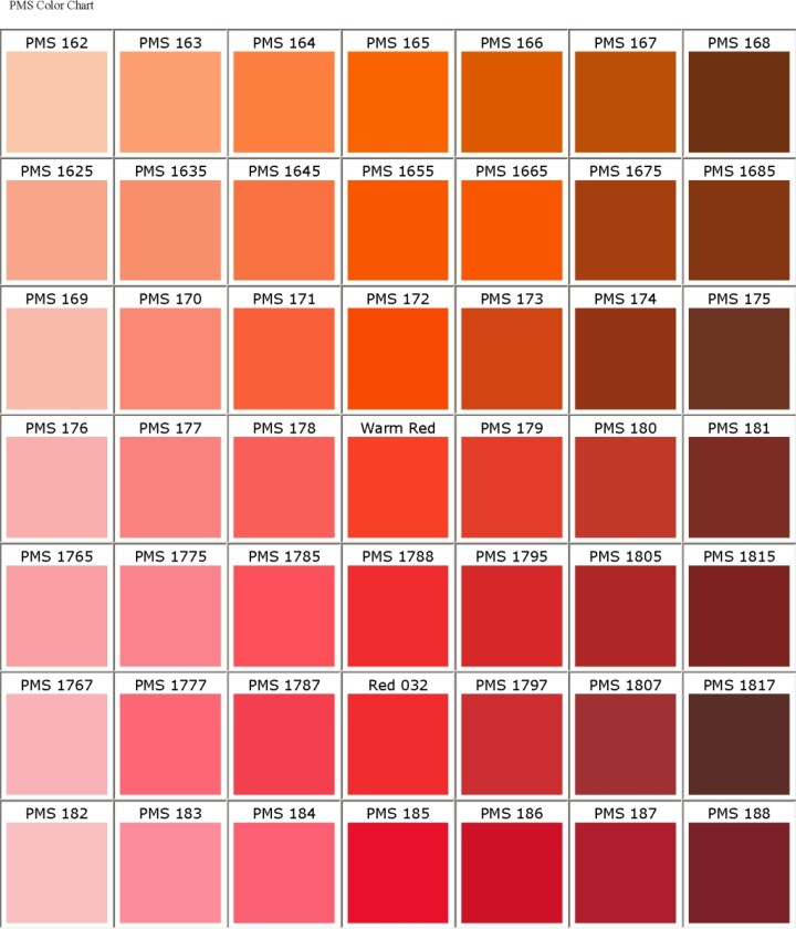 Orange Pms Color Chart Todayss