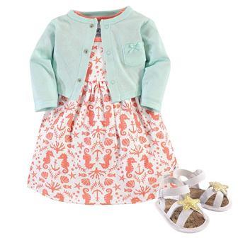 Hudson Baby Girl Dress, Cardigan, and Shoes