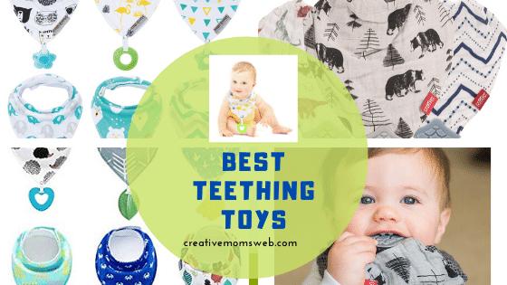 Baby Teething Bandana Bibs Gift Set Teether Toys Soother Saliva Teething FI
