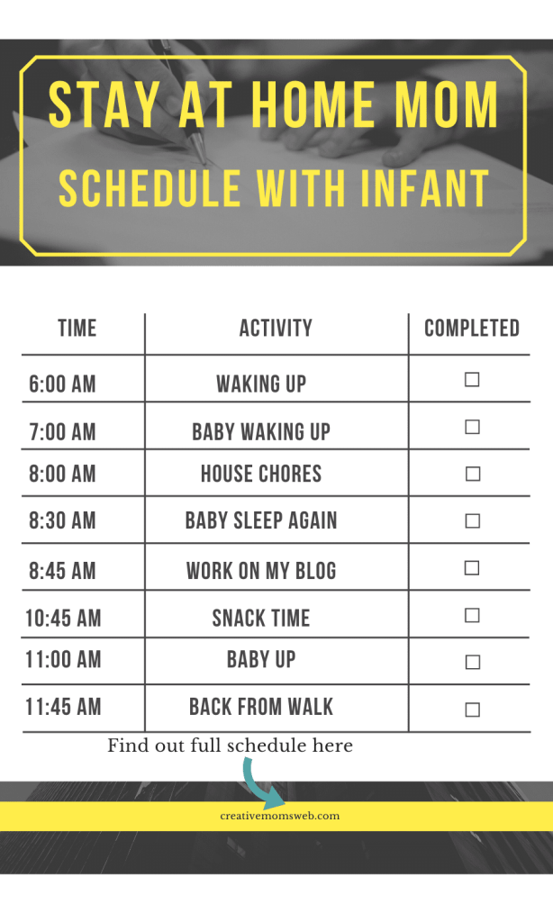 Stay at home mom schedule with infant