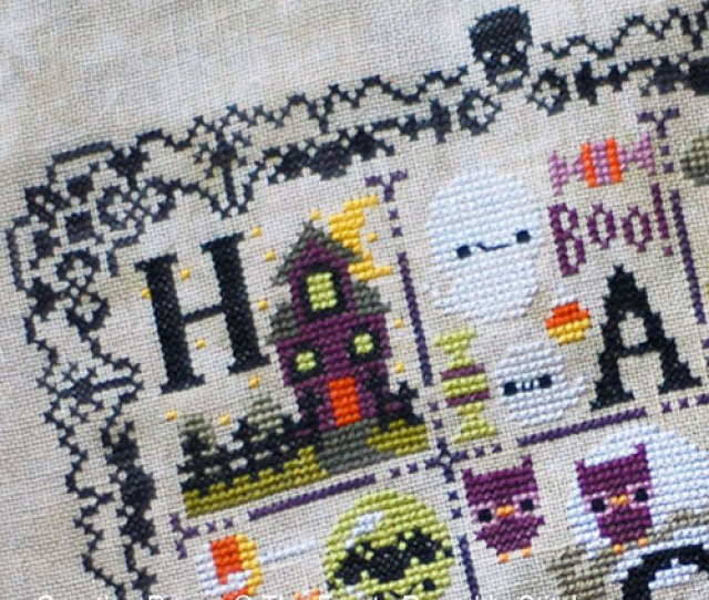 The Frosted Pumpkin Stitchery Halloween Spooky Sampler Zoom  Cross Stitch Chart