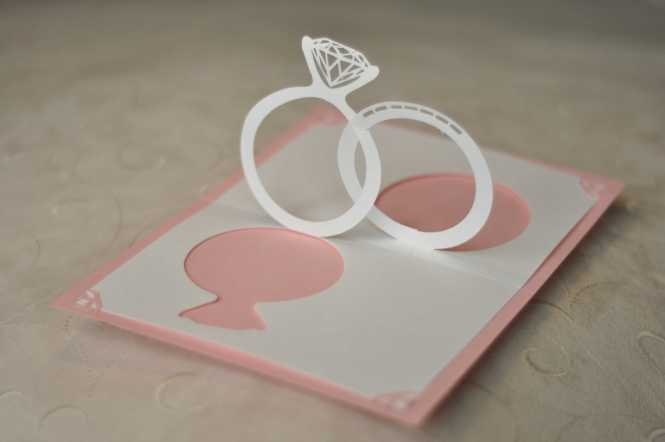 Wedding Invitation Pop Up Card Linked Rings Creative