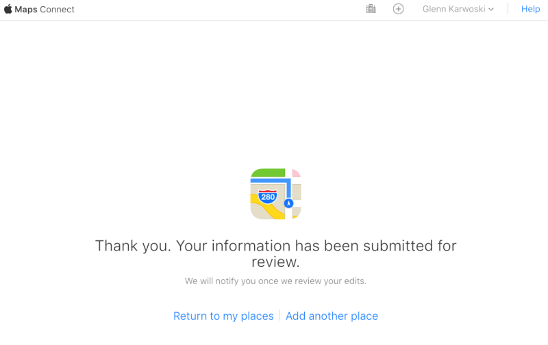 Screenshot: Apple Maps Connect Submitted For Review