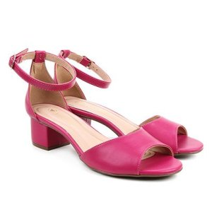 Sandália Via Uno Salto Baixo Feminina - Feminino-Pink